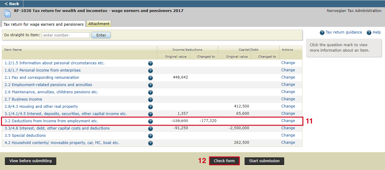 Shows the main overview where item 3.2 has been updated in the tax return.